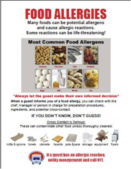 St. Paul Ordinance food allergy poster designed Hospitality Minnesota, St. Chamber of Commerce, and the Anaphylaxis & Food Allergy Association of Minnesota (AFAA)