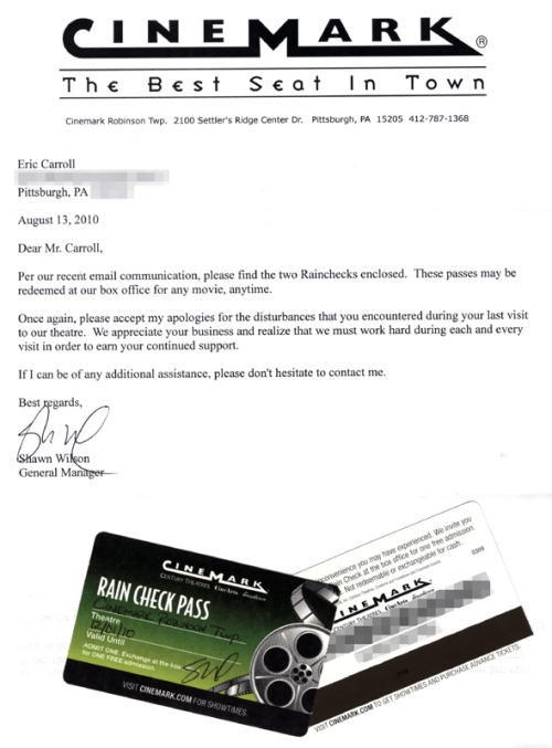 Cinemark Letter & Rain Check Passes