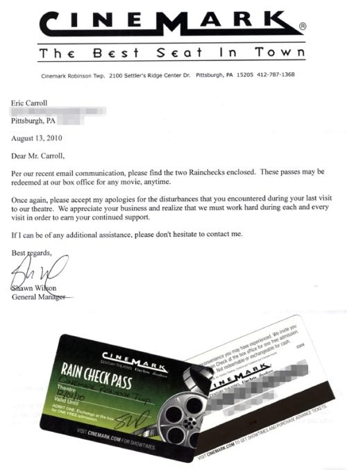 Cinemark Letter & Rain Check Passes