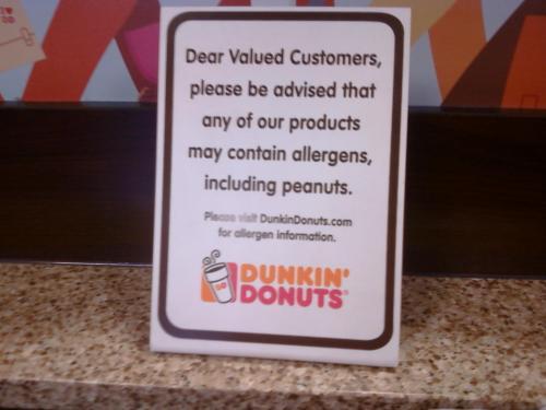 Dunkin' Donuts | Allergen Warning Signage