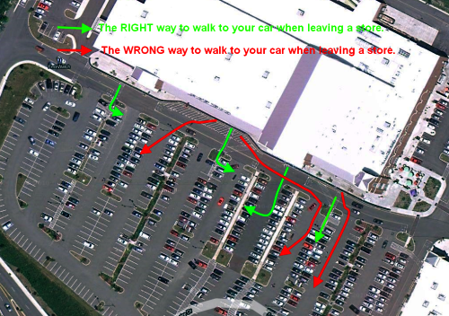 How to walk across a parking lot.