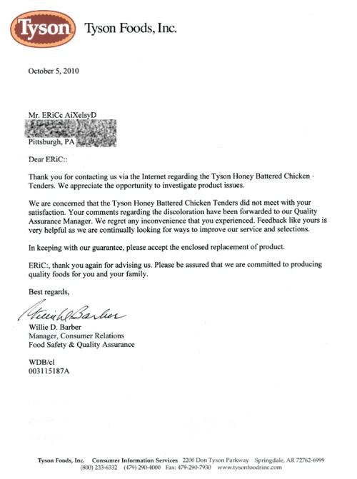 Tyson Foods - Letter