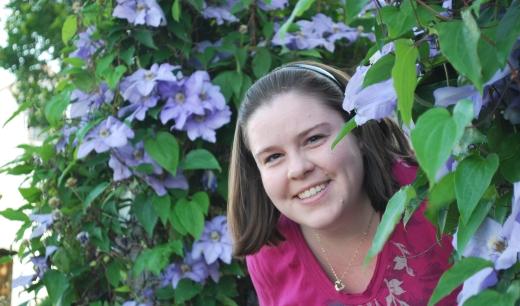 Bethany in the garden outside the Sotlzfus Farm Restaurant