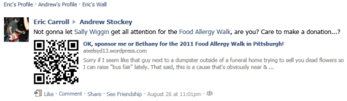 Not gonna let Sally Wiggin get all attention for the Food Allergy Walk, are you? Care to make a donation...?
