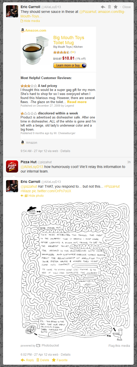@PizzaHut | @AiXeLsyD13 how humorously cool! We'll relay this information to our internal team.