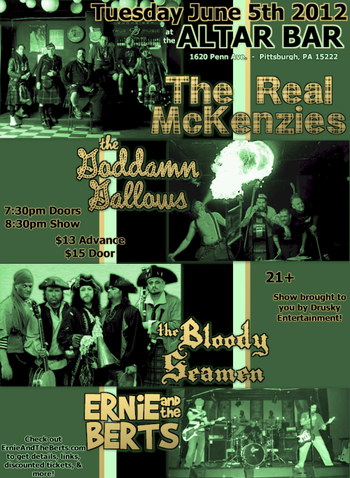Tue. 06/05/2012 @ Altar Bar - Real McKenzies, Goddamn Gallows, Bloody Seamen, Ernie and the Berts
