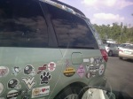 The Stickermobile! There's a baby on board? And a Pomeranian?