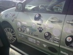 The Stickermobile! Total devotion to every team ever!
