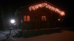 Forest Ridge Campgroundsa and Cabins   Allegheny Cabin - at night