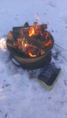Forest Ridge Campgroundsa and Cabins | Allegheny Cabin - campfire with a phonebook stater
