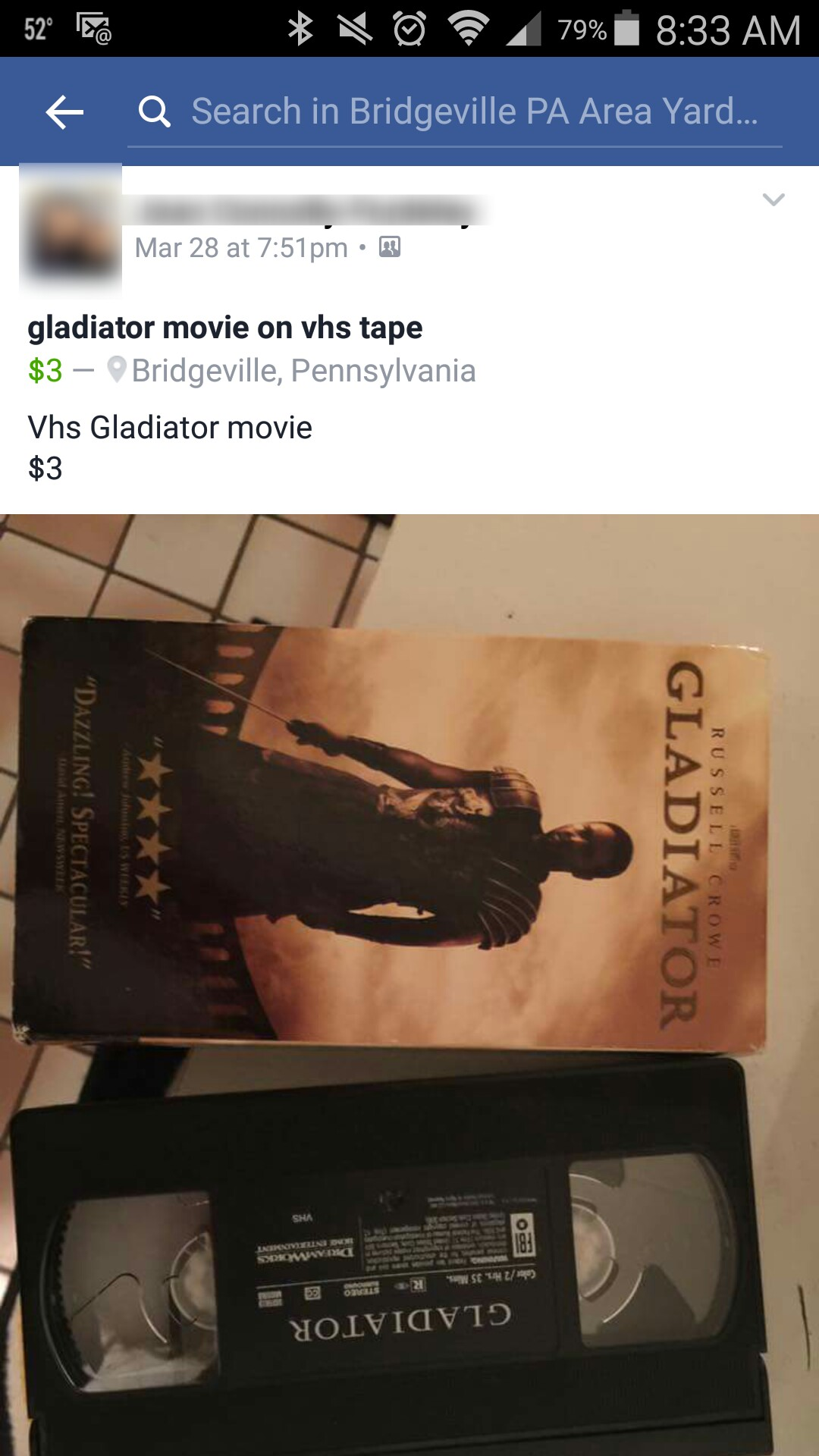 Gladiator on VHS for sale. Only $3.00 American!