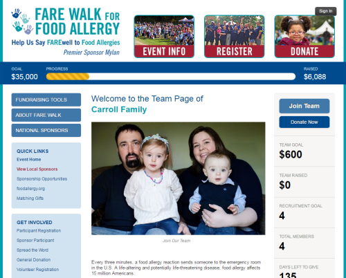 FARE Walk For Food Allergy 2016 - Carroll Family Team Page