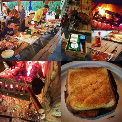 Typical mountain pie preparation, assembly, & cooking at church camp.