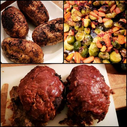 Meatloaf, Baked Potatoes, Brussels Sprouts, Carrots